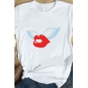 Popular White Short Sleeve Crew Neck Lip Wings Patterned Loose Tee Top for Women