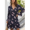 Elegant Womens Bell Sleeves Surplice Neck All Over Floral Printed Mini Pleated A-Line Dress in Navy