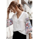 Popular Womens Bell Sleeve V-Neck Button Down Floral Embroiderd Loose Shirt