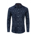 Popular Mens Long Sleeve Lapel Neck Button Down All Over Floral Printed Relaxed Fit Shirt in Navy