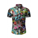 Fashionable Mens Short Sleeve Lapel Collar Button Down All Over Geometric Printed Slim Fit Shirt in Black