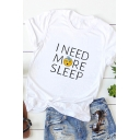 Simple Womens Roll Up Sleeve Crew Neck Letter I NEED MORE SLEEP Sleeping Face Graphic Relaxed Tee