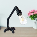 Iron Rust/Black Finish Table Light Bare Bulb 1-Head Antiqued Plug-In Desk Lamp with Cross Pipe Base