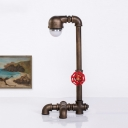 Vintage Water Pipe Desk Light 1-Light Metal Night Table Lamp in Bronze with Valve Deco