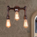 3 Lights Sconce Light Fixture Farmhouse Water Pipe Metallic Wall-Mount Lamp in Rust
