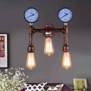 Metal Bare Bulb Wall Mount Sconce Farmhouse 3-Head Balcony Wall Light Fixture in Copper with Double Gauge