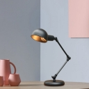 1 Light Table Lamp Industrial Living Room Swing Arm Desk Light with Dome Metallic Shade in Black, 4.5