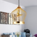 Nordic Crown Cage Pendant Lighting Iron 1 Light Dining Room Hanging Lamp Kit in Gold with Bird Deco