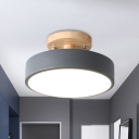 Round Metal Semi Flushmount Modern Nordic White/Green/Grey Finsih LED Flush Mount Ceiling Light with Wood Canopy