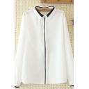 Formal Womens Long Sleeve Lapel Collar Button Front Contrast Piped Relaxed Work Shirt