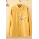 Casual Womens Long Sleeve Lapel Collar Button Down Cat Embroidered Patchwork Loose Fit Shirt