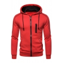Simple Mens Long Sleeve Zip Up Drawstring Contrast Piped Fitted Hoodie