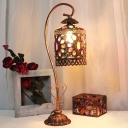 1 Head Dome Desk Light Traditionary Copper Metal Night Table Lamp with Carved Base