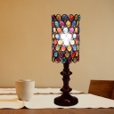 Black Laser Cut Desk Light Decorative Metal 1 Head Night Table Lamp with Colorful Crystal Bead
