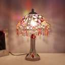 Bohemian Flared Small Desk Lamp Metal 1 Head Task Lighting in White/Yellow/Red with Carved Base