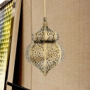 Metal Hollow Down Lighting Arabian 1 Light Restaurant Ceiling Pendant Light in Brass