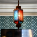 Copper Lantern Suspension Pendant Arabian Metal 1 Light Restaurant Hanging Ceiling Light