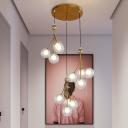 Gold/Black Orb Cluster Pendant Light Modern 12 Lights Clear/Amber/Smoke Gray Glass LED Suspension Lamp for Stair