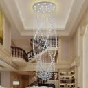Faceted Crystal Curved Cluster Pendant Minimalism 12 Lights White Hanging Light Kit for Living Room