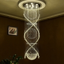 Minimalism 9 Bulbs Cluster Pendant Silver Ball LED Ceiling Lamp with K9 Crystal Shade