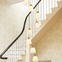 Gold Bell/Dome Cluster Pendant Light Modern 8 Lights White Glass LED Suspension Lamp for Stair