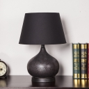 Contemporary Tapered Drum Task Lighting Fabric 1 Head Small Desk Lamp in Black