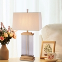 1 Head Rectangular Table Light Modernist Clear Crystal Small Desk Lamp in Gold