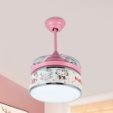 Pink LED Ceiling Fan Lighting Kids Acrylic Drum Shape 4 Blades Semi Flushmount with Wall/Remote Control, 32