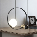 Black Circular Desk Light Modern 1 Bulb Metal Nightstand Lamp with Milky Glass Shade