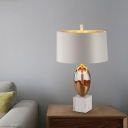Shaded Task Light Contemporary Fabric 1 Bulb Gold Night Table Lamp with Marble Base