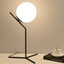 Globe White Glass Task Lighting Contemporary 1 Head Black/Gold Night Table Lamp for Bedroom