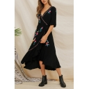 Ethnic Black Short Sleeve Surplice Neck Floral Printed Long Wrap Dress for Women