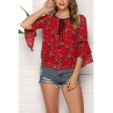Sexy Fashion Women's Ruffled Sleeve Round Neck Tied Front All Over Flower Print Mesh Slim Fit Blouse Top