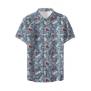 New Trendy Cool Shark Pattern Mens Basic Short Sleeve Button Up Beach Shirt