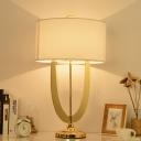 1 Head Study Task Lamp Modern White Reading Book Light with Tubular Fabric Shade
