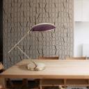 2 Bulbs Flat Task Lighting Modern Metal Small Desk Lamp in Purple for Living Room