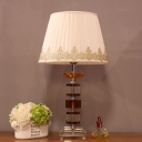 Modernism 1 Head Task Light Beige Tapered Drum Small Desk Lamp with Fabric Shade