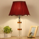 Fabric Flared Task Lighting Modernism 1 Bulb Red Nightstand Lamp with Braided Trim
