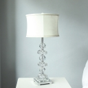 Modernism Drum Table Light Fabric 1 Head Small Desk Lamp in White for Living Room