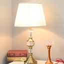 Fabric Barrel Table Light Modernist 1 Bulb Small Desk Lamp in Gold for Living Room