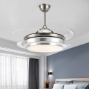 LED Ceiling Fan Lighting Modernism Cascaded Acrylic Semi Flush Mounted Lamp in Nickel with 4 Clear PC Blades, 48