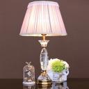Fabric Cone Task Lighting Modern 1 Head Reading Lamp in Light Purple with Braided Trim