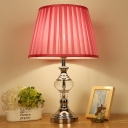 1 Head Bedside Table Lamp Modernist Rose Red Task Light with Pleated Fabric Shade