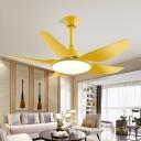 5 Blades Acrylic Flower Hanging Fan Light Modernist Yellow/Blue/Green LED Semi Flush Mount Lamp for Living Room, 43