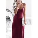 Classy Women's Sleeveless Solid Color Maxi A-Line Cami Dress for Special Occasion