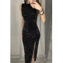 Dressy Ladies' Plain Sleeveless Crew Neck Glitter High Cut Maxi Dinner Column Dress
