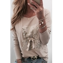 Trendy Ladie's Apricot Long Sleeve Round Neck Sequined Bear Bow Tie Fitted Tee
