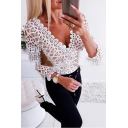 Trendy Sexy Ladies' White Long Sleeve V-Neck See-Through Lace Scalloped Trim Fitted T Shirt