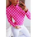 Fancy Girls' Long Sleeve Mock Neck Polka Dot Printed Slim Fit Tee in Pink