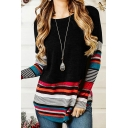 Trendy Women's Long Sleeve Round Neck Stripe Printed Colorblock Loose Fit Tee